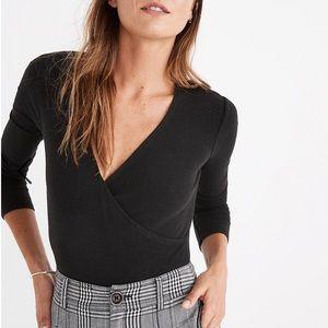 Madewell Wrap Full Coverage Bodysuit Black Size L